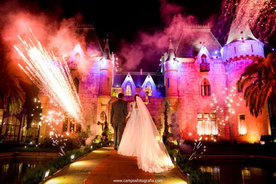 Show pirotécnico em casamento no Castelo de Itaipava: Daniel e Leyde